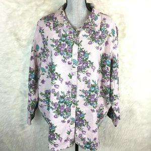 Venezia Plus Size Corduroy Floral Shirt Blouse